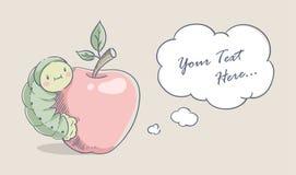 Гусеница на красном яблоке бесплатная иллюстрация