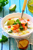 Густой суп с форелью стоковые изображения