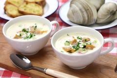 Густой суп clam Новой Англии Стоковые Изображения RF