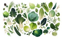 Густолиственная предпосылка зеленых цветов предпосылки, овощей и трав иллюстрация вектора