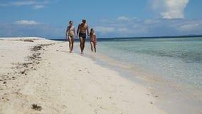 гулять семьи пляжа счастливый сток-видео