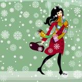 гулять снежка девушки иллюстрация штока