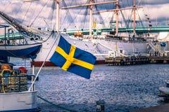 Гётеборг, Швеция - 14-ое апреля 2017: Флаг Швеции в Gothenbur Стоковая Фотография RF