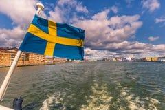 Гётеборг, Швеция - 14-ое апреля 2017: Флаг Швеции в Gothenbur Стоковые Изображения