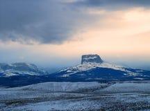 Главная гора, заход солнца зимы Стоковое фото RF