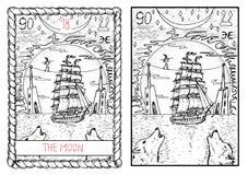 Главная карточка tarot arcana Луна… в пасмурной ноче Стоковые Фотографии RF
