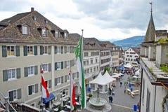 Главная площадь в городке Rapperswil, Швейцарии стоковые фотографии rf