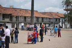 Главная площадь в маленьком городе близко к Боготе Стоковое фото RF