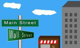 Главная улица против Уолл-Стрита иллюстрация вектора