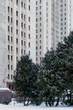 Главное здание государственного университета Lomonosov Москвы MGU Холмы воробья Россия Зима Стоковое фото RF