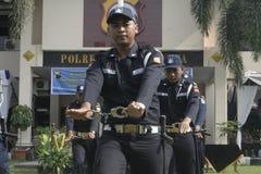 Главное полицейское управление сотрудников службы безопасности блока тренировки строя в Surakarta Стоковая Фотография