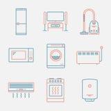 Главные значки приборов Тонкая линия стиль Современный плоский дизайн Стоковое фото RF