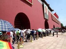 Главный вход к запретному городу на квадрате Тяньаньмэня Пекина стоковые фотографии rf