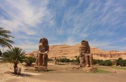 Главным образом взгляд колоссов статуй Memnon, Луксор, Египет Стоковые Фото