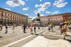 Главным образом городская площадь милана, Италии Стоковая Фотография RF