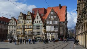 Главным образом рыночная площадь в Бремене, Германии стоковые фотографии rf