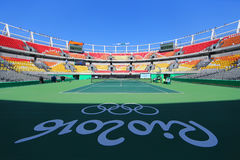 Главным образом суд Марии Есфири Bueno места тенниса Рио 2016 Олимпийских Игр на олимпийском центре тенниса Стоковые Изображения