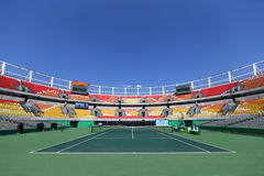 Главным образом суд Марии Есфири Bueno места тенниса Рио 2016 Олимпийских Игр на олимпийском центре тенниса Стоковая Фотография