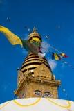 глаза Будды Глаза премудрости Будды в Swayambhunath Stupa после землетрясения, Катманду, Непале Стоковое Изображение