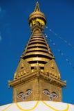 глаза Будды Глаза премудрости Будды в Swayambhunath Stupa после землетрясения, Катманду, Непале Стоковые Изображения RF