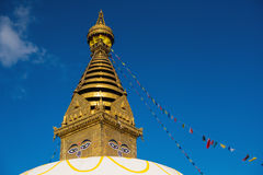 глаза Будды Глаза премудрости Будды в Swayambhunath Stupa после землетрясения, Катманду, Непале Стоковое Фото