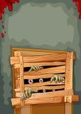 Глаза и руки зомби приходя из двери иллюстрация вектора