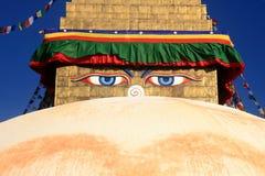 Глаза премудрости Будды Boudhanath Stupa в Катманду, Непале Стоковые Изображения RF
