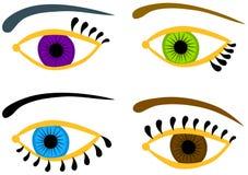 Глаза установленные с другими цветами Стоковое Фото