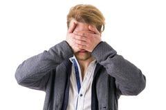 Глаза человека пряча с руками стоковые изображения rf