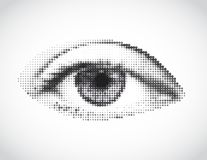 Глаз абстрактной женщины серый сделанный от точек. Вектор иллюстрация штока