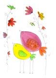 2 глаз-закрытых птицы в наивном чертеже Стоковое Изображение