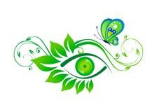 Глаз и художественное произведение бабочки Стоковые Изображения