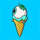 Глаз мороженого с холодными зрачком и листьями мяты Стоковая Фотография RF