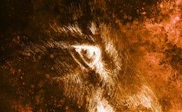 Глаз льва животный чертеж на винтажной бумаге Влияние цвета Стоковое Изображение