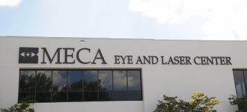 Глаз Meca и знак центра лазера стоковое изображение rf