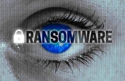 Глаз Ransomware смотрит концепцию телезрителя Стоковая Фотография RF