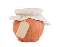Глиняный горшок с тканью и опорожняет изолированный ярлык Стоковые Фотографии RF