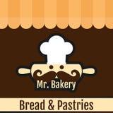 Г-н Вектор хлеба хлебопекарни & предпосылки печениь Стоковые Изображения RF