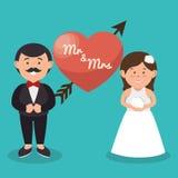 г-н и Госпожа пара сердце свадьба конструируют график Стоковое Фото