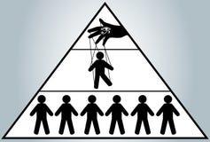 глобализация Спрятанное управление людей Марионетка человека мир нового порядка иллюстрация вектора