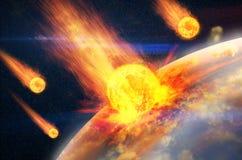 Глобальная авария - столкновение астероида с землей Стоковая Фотография RF
