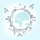 Глобальная информационная сеть на глобусе, иллюстрация вектора Стоковое Изображение RF