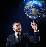 Глобальная концепция интернет-связи мир обеспеченный NASA Стоковые Фотографии RF