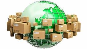 Глобальная концепция доставки и экологичности бесплатная иллюстрация