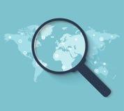 Глобальная концепция поиска в плоском стиле Стоковая Фотография RF