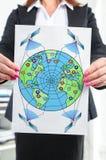 Глобальная концепция сети сети показанная коммерсанткой Стоковая Фотография RF