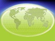 Глобальная концепция символа соединений и связей с зеленым международным глобусом мира Стоковая Фотография