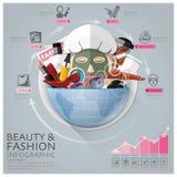 Глобальная красота и мода Infographic с круглым кругом Vegetabl иллюстрация вектора