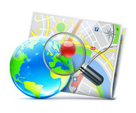 Глобальная принципиальная схема навигации Стоковое Изображение RF