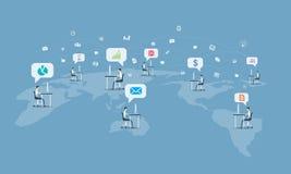 Глобальная социальная предпосылка соединения делового сообщества иллюстрация штока